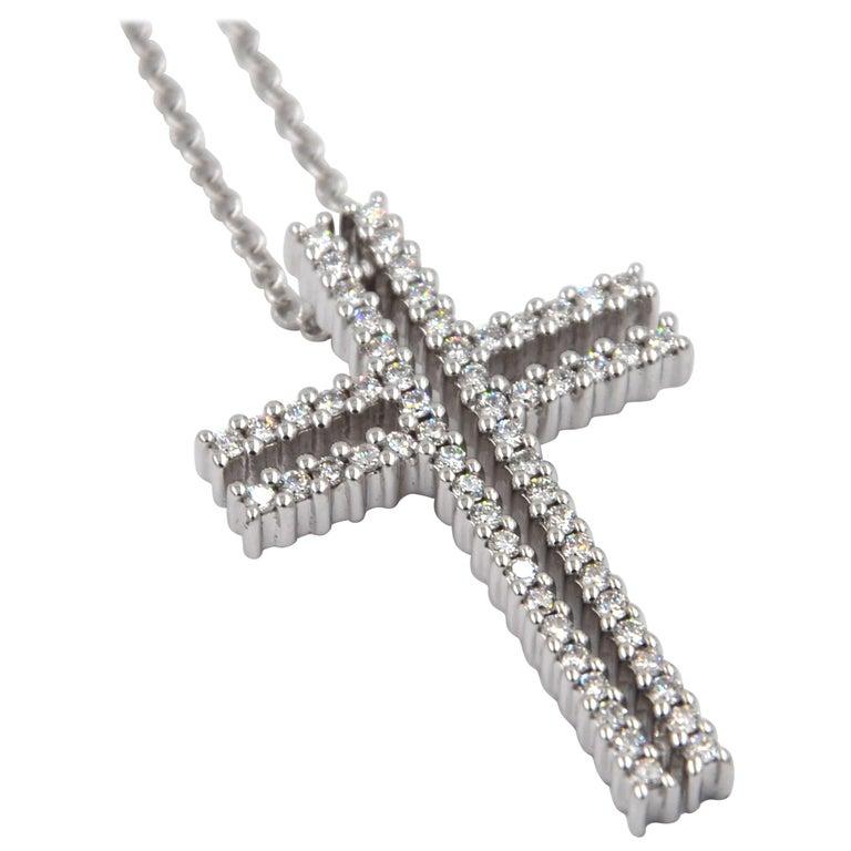 18 Karat White Gold White Diamonds Garavelli Cross Pendant Necklace For Sale