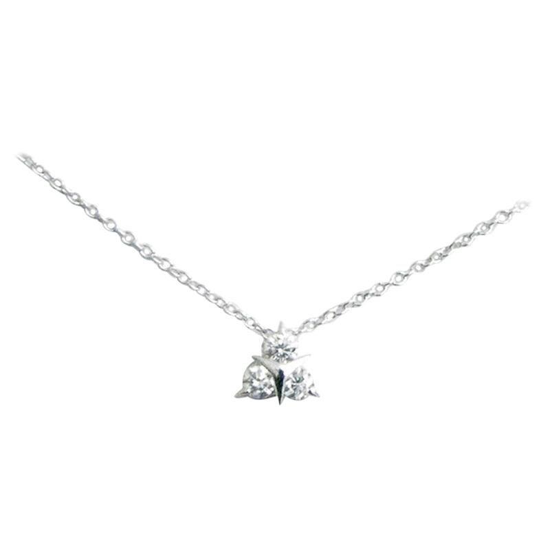 18 Karat White Gold White Diamonds Garavelli Pendant with Chain