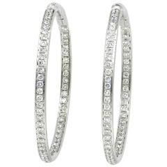 18 Karat White Gold White Diamonds Garavelli Round Hoops Earrings
