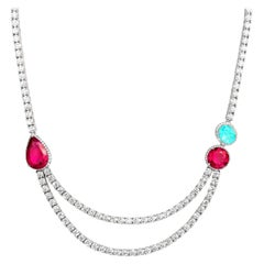 18 Karat White Gold, White Diamonds, Paraiba Tourmaline and Rubellite Necklace