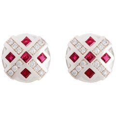 18Karat White Gold 0.24 Karat White Diamonds 1 Karat Ruby Chess Clip-On Earrings