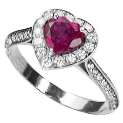18Karat White Gold 0.50Karat White Diamonds Ruby Heart Engagement Ring
