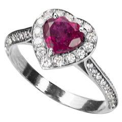 "Ugolini 18Karat White Gold 0.50Karat White Diamonds Ruby ""Heart"" Engagement Ring"