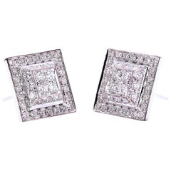 "Ugolini 18 Karat White Gold 0.80 Karat White Diamonds ""Square"" Stud Earrings"