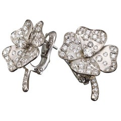 18 Karat White Gold White Diamonds Stud Earrings Aenea Jewelry