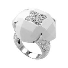 18 Karat White Gold White Onyx and Diamond Ring CRR7815