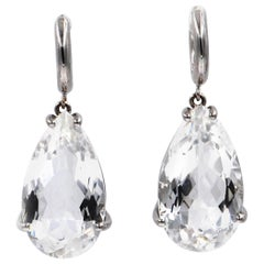 18 Karat White Gold White Quartz Drops Garavelli Earrings