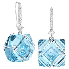 18 Karat White Gold White Sapphire and Blue Topaz Very PC Earrings