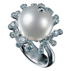 18 Karat White Gold White South Sea Pearl and 0.43 Carat Diamonds Cocktail Ring
