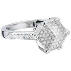 18 Karat White Gold White Topaz 2.90 Carat and Diamond Brillante Valentina Ring