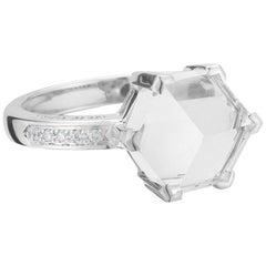 18 Karat White Gold White Topaz 4.42 Carat Brillante Valentina Ring