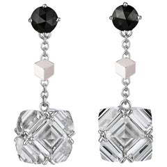 Paolo Costagli 18 Karat White Gold White Topaz & Black Diamond Very PC Earrings