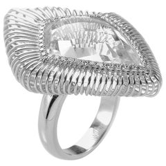 18 Karat White Gold White Topaz Ring CRR9950