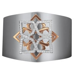 18 Karat White Gold Wide Cuff Bracelet with 1.25 Carat Diamonds and Rose Gold