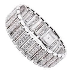 18 Karat White Gold Wide Diamond Bracelet