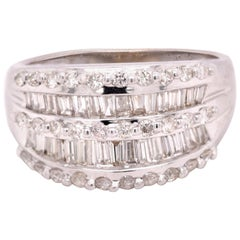 18 Karat White Gold Wide Diamond Cigar Band