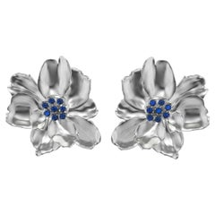 18 Karat White Gold Wild Flower Earrings with Sapphires