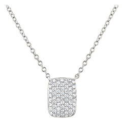 18 Karat White Gold with 0.21 Carat Round Diamond Rectangle Pendant Necklace