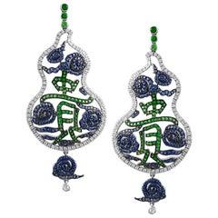 18 Karat White Gold with 1.85 Carat Tsavorite and Diamond Sapphire Earrings