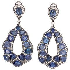 18 Karat White Gold with 39.38 Carat Sapphire Earring