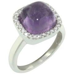 18 Karat White Gold with Amethyst and White Diamond Ring