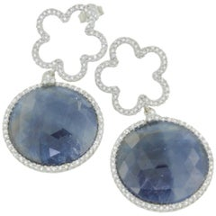 18 Karat White Gold with Blue Sapphire and White Diamonds Earrings