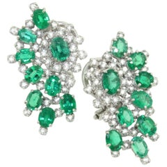 18 Karat White Gold with Emeralds and White Diamond Earrings