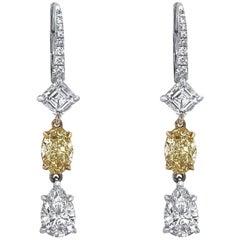18 Karat White Gold with Fancy Yellow Diamond Drop Earring