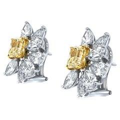 18 Karat White Gold with Fancy Yellow Diamond Earrings