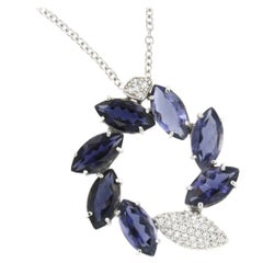 18 Karat White Gold with Iolite and White Diamonds Chain with Pendant