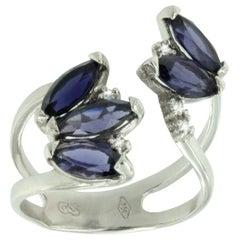 18 Karat White Gold with Iolite and White Diamonds Ring