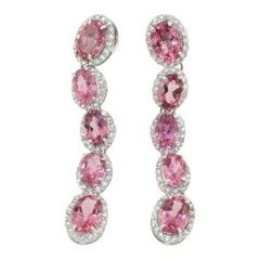 18 Karat White Gold with Pink Tourmaline and White Diamond Earrings