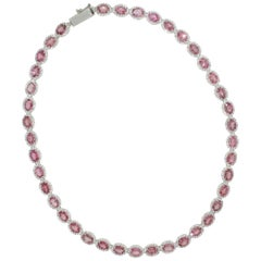 18 Karat White Gold with Pink Tourmaline and White Diamond Necklace