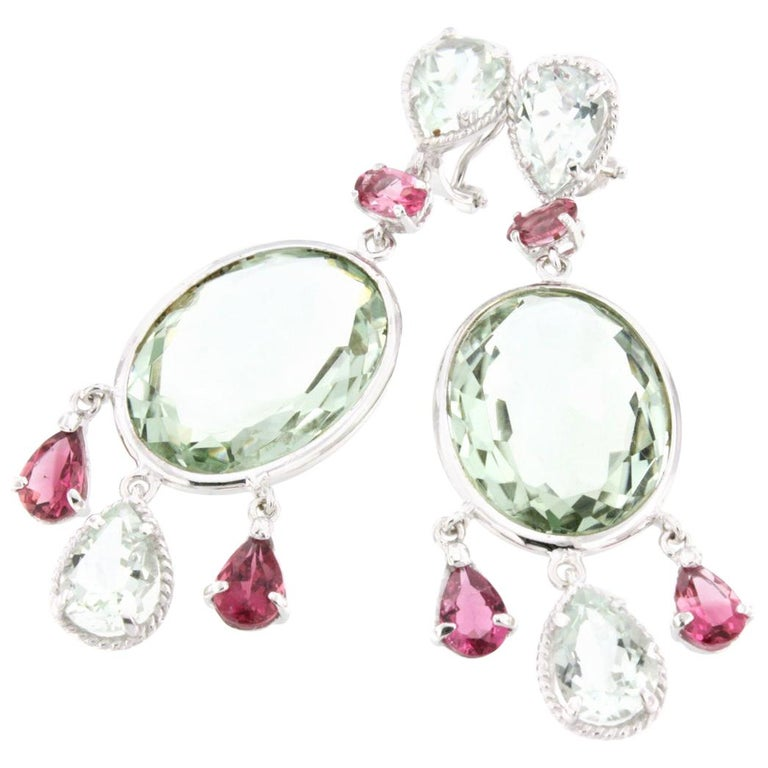18 Karat White Gold with Tourmaline and Prasiolite Earrings For Sale