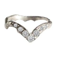 18 Karat White Gold with White Diamonds Stacking Ring