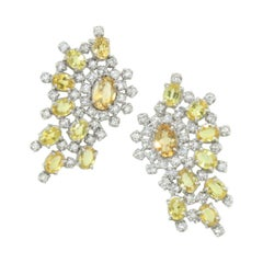 18 Karat White Gold with Yellow Sapphire and Diamond Earrings