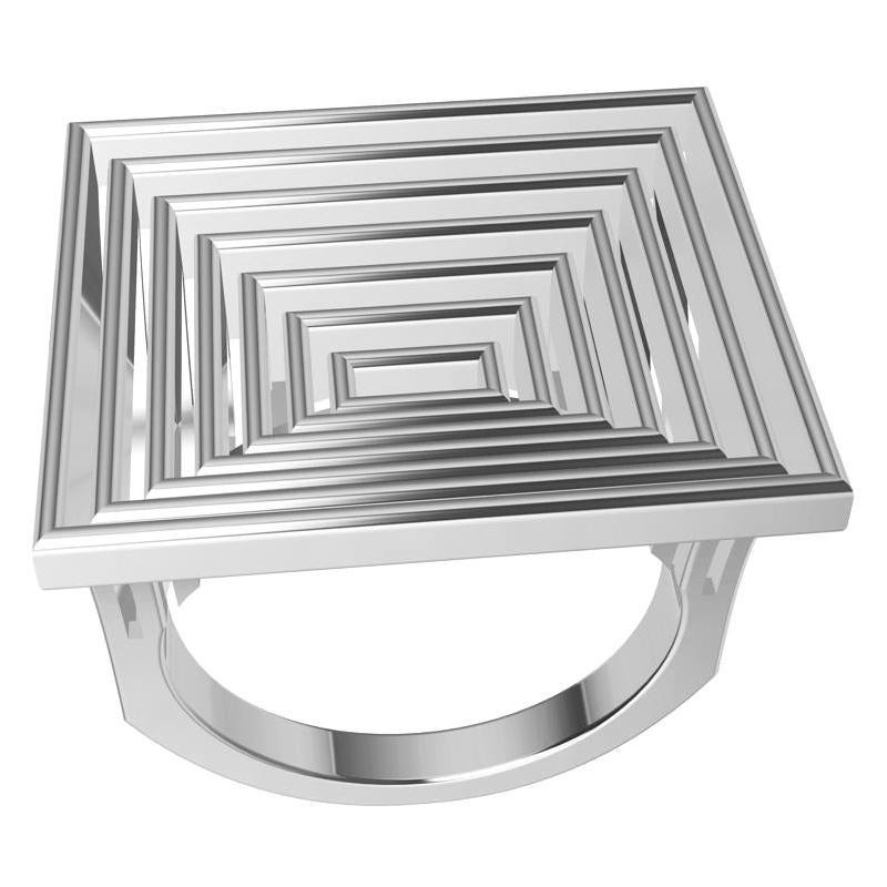 18 Karat White Gold Women's Rectangle Rows Ring