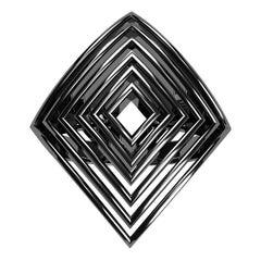 18 Karat White Gold Womens Black Rhodium Rhombus Rows Ring
