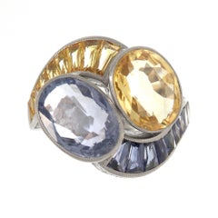 18 Karat White Gold Yellow and Blue Sapphire Cocktail Ring