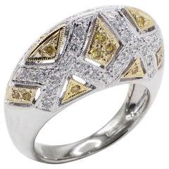 18 Karat White Gold Yellow and White Diamond Dome Cocktail Ring