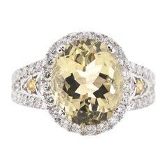 18 Karat White Gold Yellow Beryl Emerald and Diamond Ring