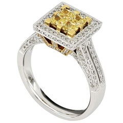 18 Karat White Gold Yellow Diamond Ring
