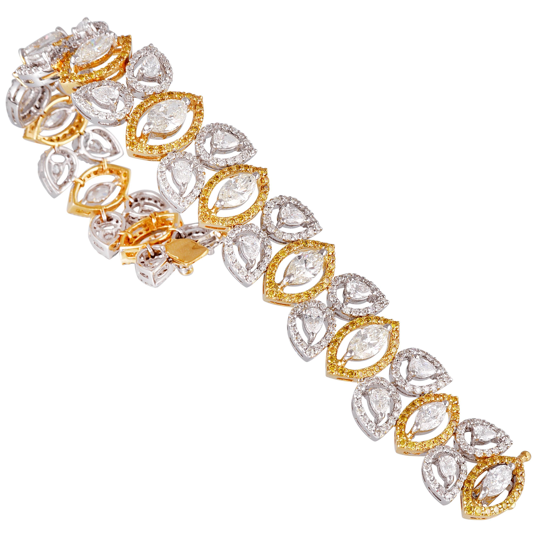 18 Karat White Gold Yellow Gold White Diamond Yellow Diamond Tennis Bracelet