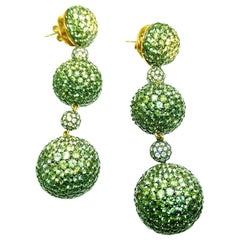 18 Karat White Gold Yellow, Green Sapphire Three Ball Chandelier Earrings