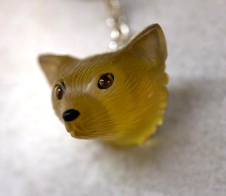 18 Karat White Gold Yellow Opal Tiger's Eye Carnelian Fox Cufflinks In New Condition For Sale In Milano, IT