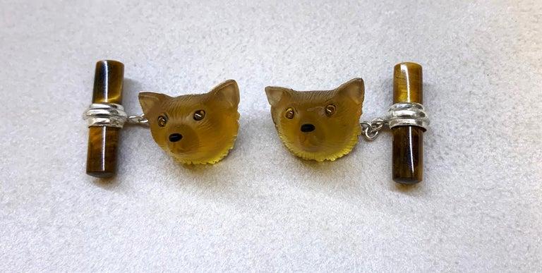 18 Karat White Gold Yellow Opal Tiger's Eye Carnelian Fox Cufflinks For Sale 2