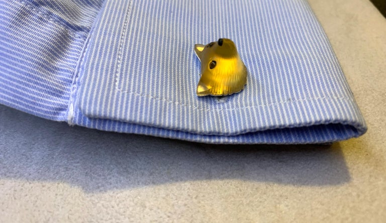 18 Karat White Gold Yellow Opal Tiger's Eye Carnelian Fox Cufflinks For Sale 3