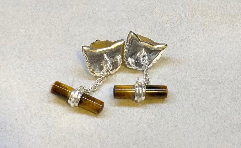 18 Karat White Gold Yellow Opal Tiger's Eye Carnelian Fox Cufflinks For Sale 4
