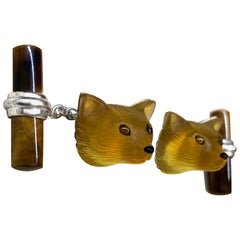 18 Karat White Gold Yellow Opal Tiger's Eye Carnelian Fox Cufflinks