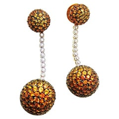 18 Karat White Gold Yellow, Orange Sapphire Diamond Gold Two Balls Earrings